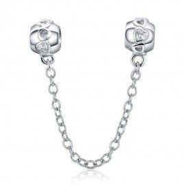 Sterling silver safety chain Charm with Romantic hearts
