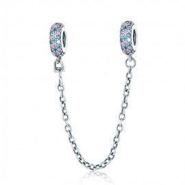 Cadena de seguridad Charm en plata de Ley con piedras rosas y azules
