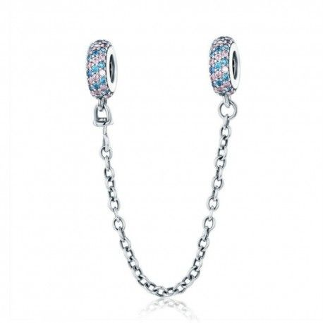 Sterling silver safety chain Charm with pink and blue stones