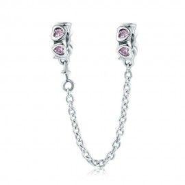 Zilveren veiligheidsketting bedel met roze hartjes
