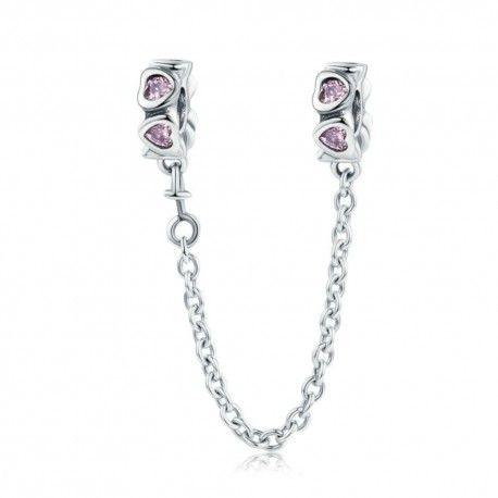 Sterling silver safety chain Charm with pink hearts