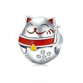 Charm in argento Gatto fortunato giapponese