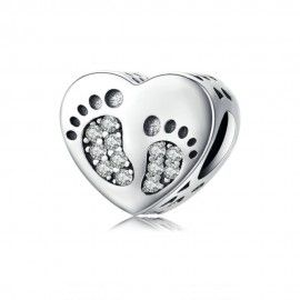 Sterling silver charm Footprints