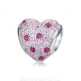 Zilveren bedel Roze hart