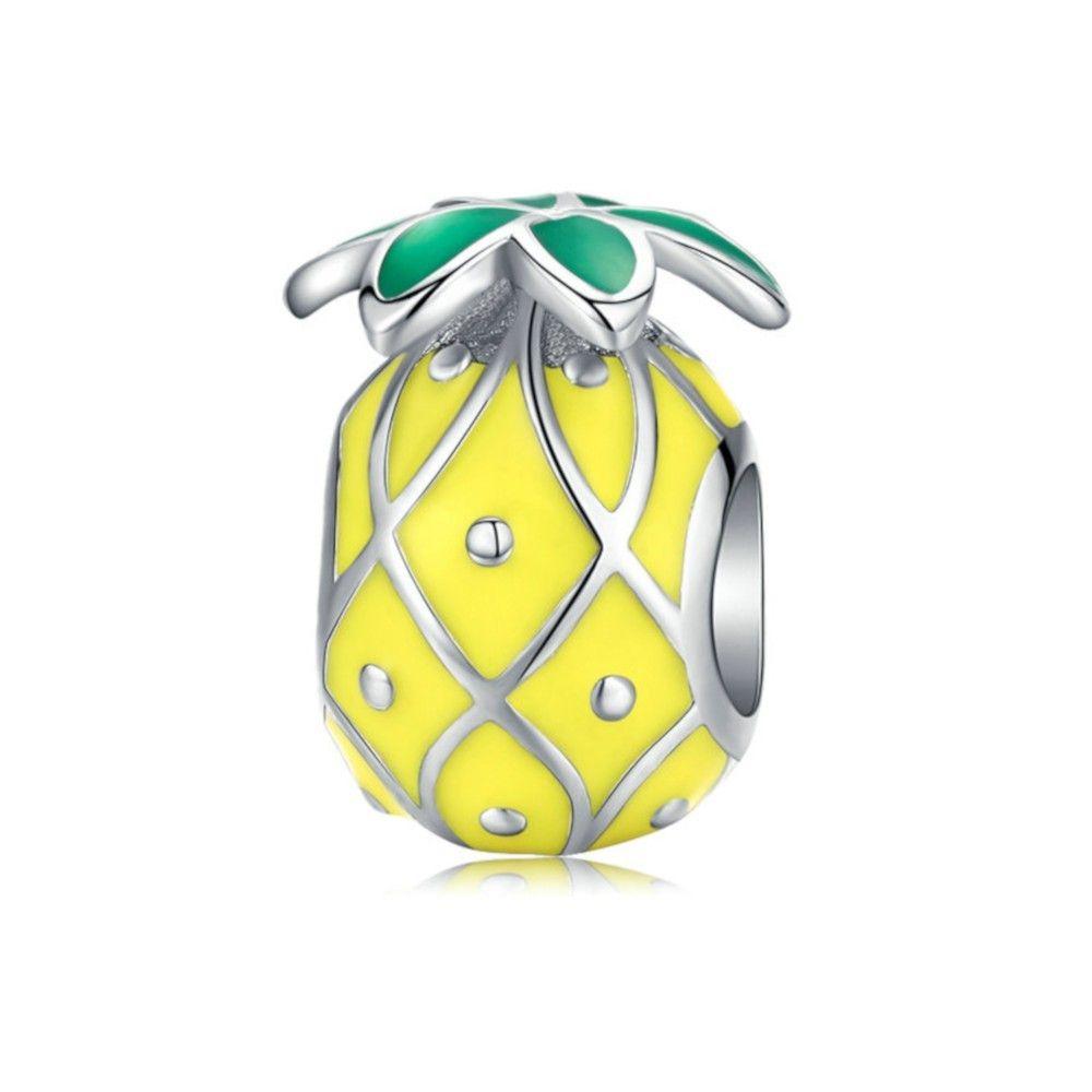 Sterling silver charm Enamel pineapple