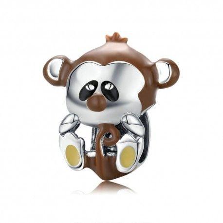 Sterling silver charm Brown monkey