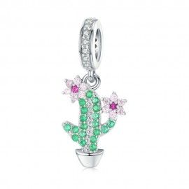 Sterling silver pendant charm Cactus with flowers