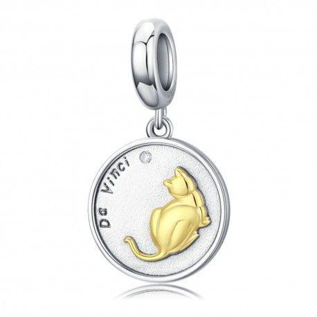 Sterling silver pendant charm Cat of Da Vinci