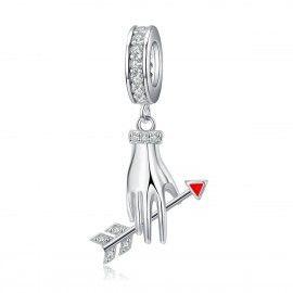 Zilveren hangende bedel Liefdespijl