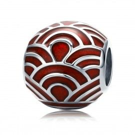 Sterling silver charm Red waves