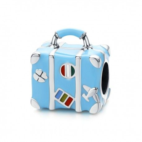 Sterling silver charm Blue suitcase