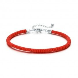 Textile charm bracelet with sterling silver clasp
