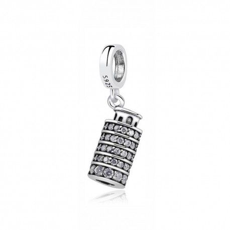 Sterling silver pendant charm Tower of Pisa
