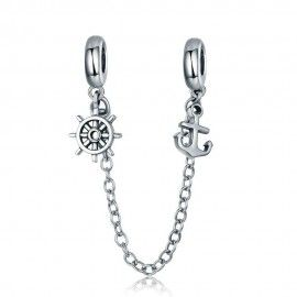 Sterling silver safety chain Voyage & rudder