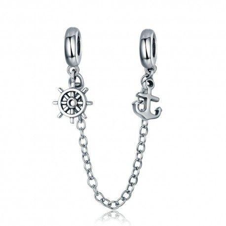 Sterling silver safety chain Voyage & rudder