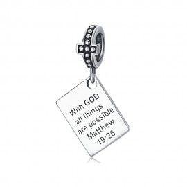 Zilveren hangende bedel Met God zijn alle dingen mogelijk