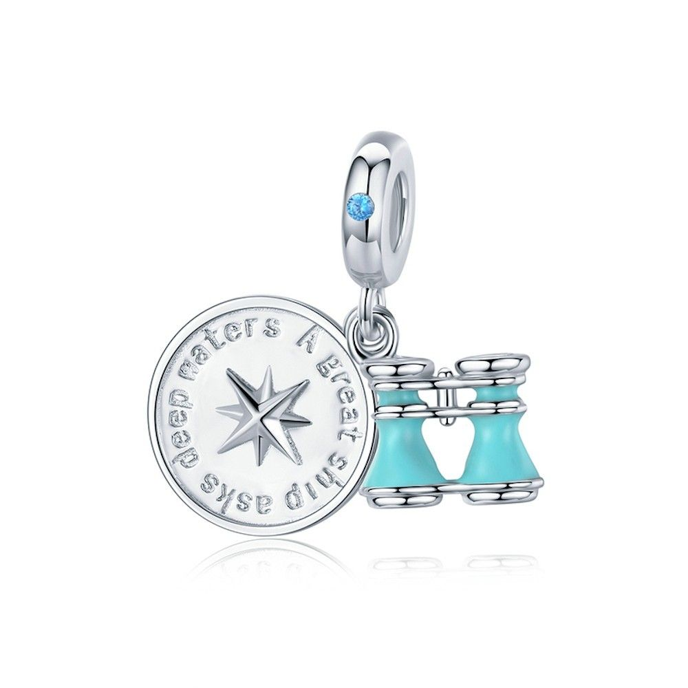 Sterling silver pendant charm Compass and telescope