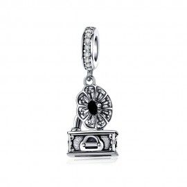 Sterling silver pendant charm Retro gramophone