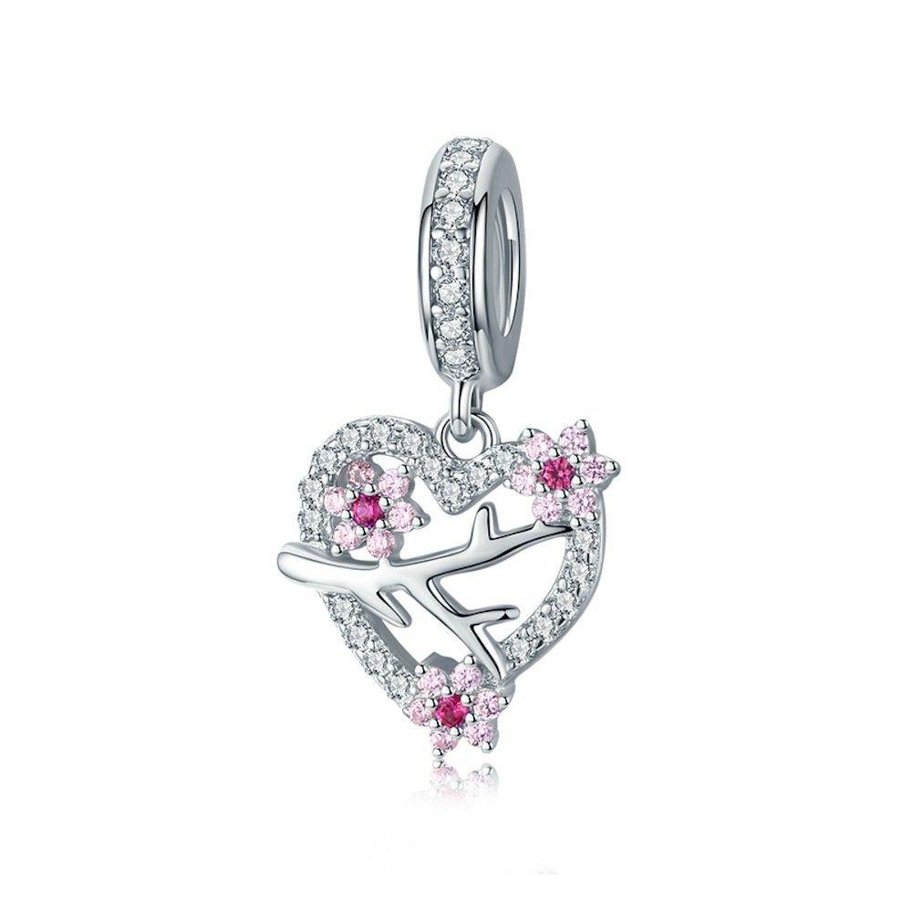 Sterling silver pendant charm Plum blossom heart