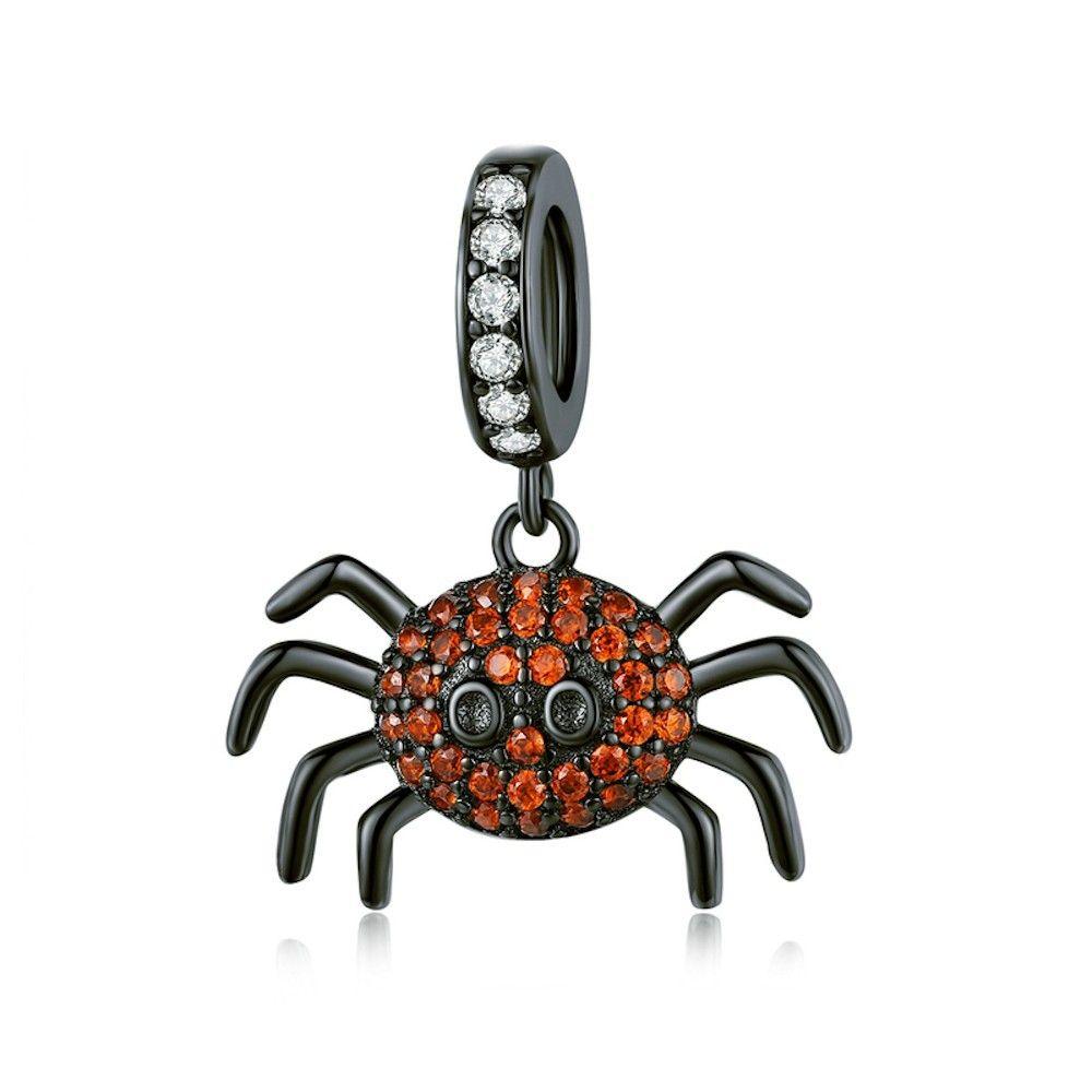 Sterling silver pendant charm Dark spider