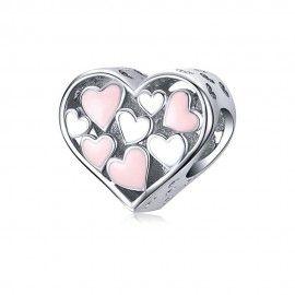 Zilveren bedel Romantisch hart
