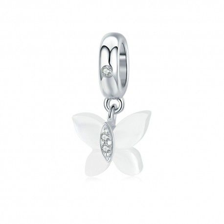 Sterling silver pendant charm Butterfly of nacre