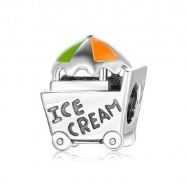 Sterling silver charm Ice cream van colorful
