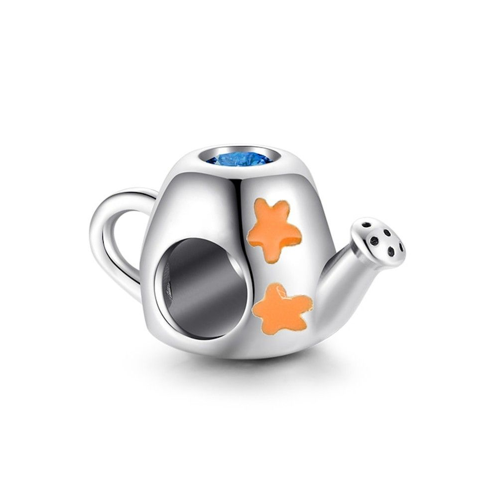 Sterling silver charm Watering can with flowers