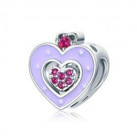 Sterling silver charm Purple enamel heart
