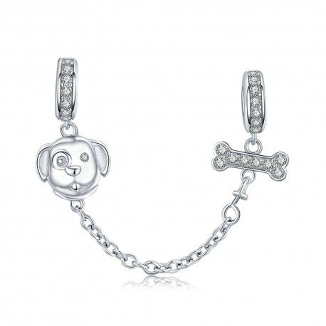 Sterling silver safety chain Dog and bone