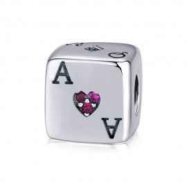 Sterling silver charm Lucky dice