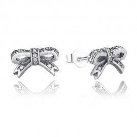 Silver earrings Bow tie