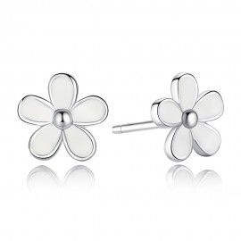 Silver earrings Daisy white