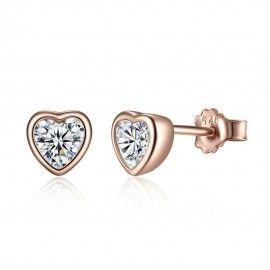 Silver earrings Shiny heart