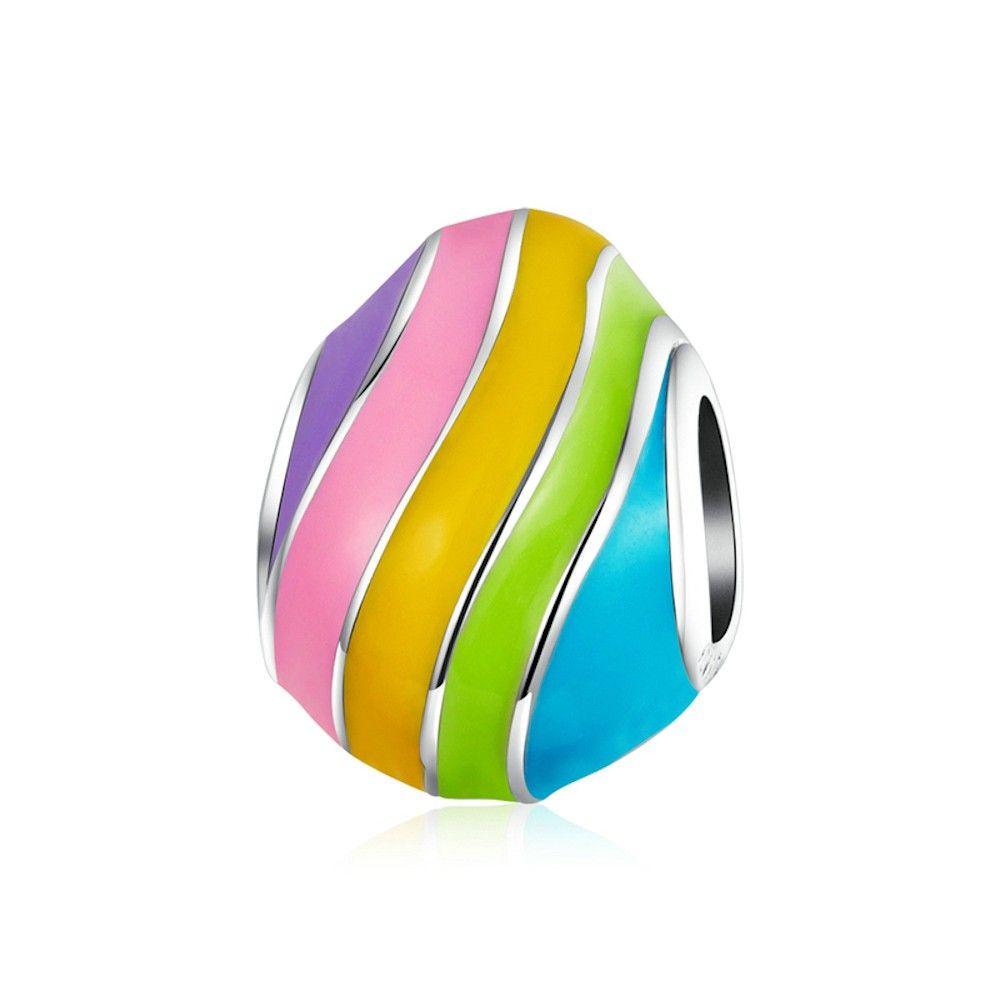 Sterling silver charm Rainbow egg