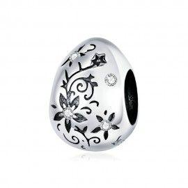 Zilveren bedel Bloemen ei