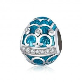 Charm in argento Uovo blu