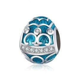 Zilveren bedel Blauw ei