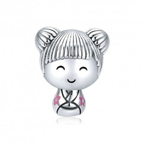 Sterling silver charm Japanese doll