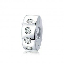 Clip in argento con zirconi