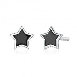 Silver earrings Black star