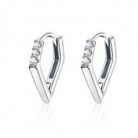 Silver earrings V-shape