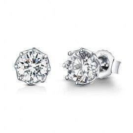 Silver earrings Round shining