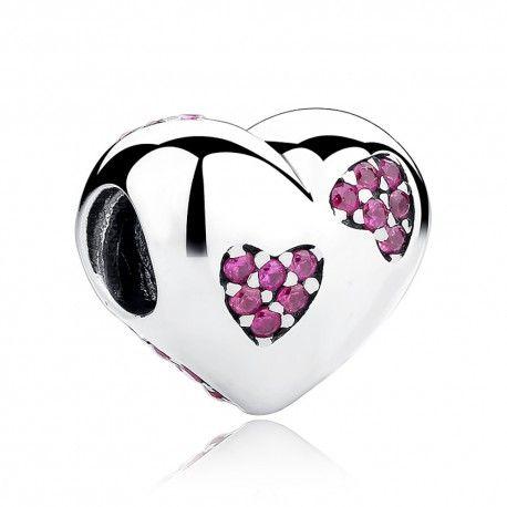 Charm in argento cuore con cristalli rosa-Mijn bedels-per ...