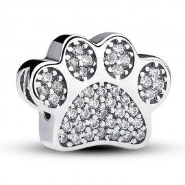 Zilveren bedel hondenpoot...