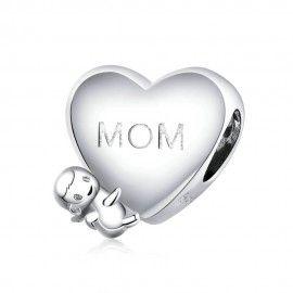 Zilveren bedel Mama ik hou...