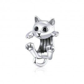 Zilveren bedel Speelse kitten