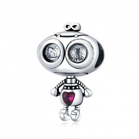 Sterling silver pendant charm Fall in love Robot