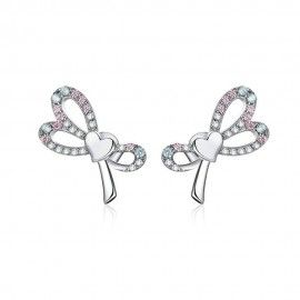 Silver earrings Bowknot
