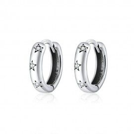 Boucles d'oreilles en argent Étoile scintillante